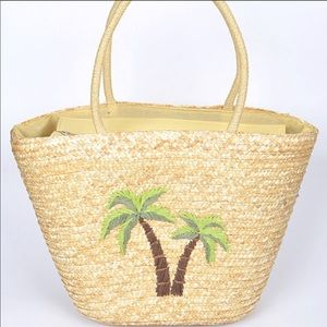 Straw Tote Purse With Embroidered Palm Trees